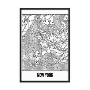 Framed New York Antique Paper Map White