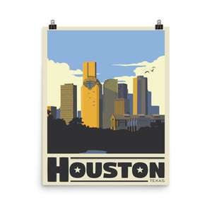Houston Texas Vintage Travel Poster