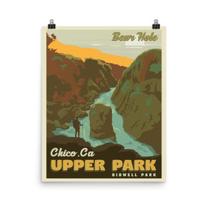 Chico California | Bear Hole | Upper Bidwell Park | Vintage-Style Travel Poster | Premium Paper Print