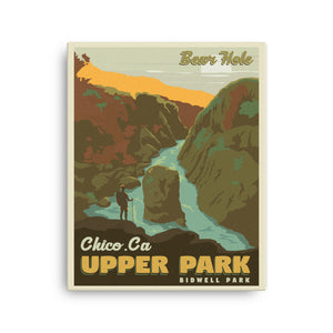 Chico California | Bear Hole | Upper Bidwell Park | Vintage-Style Travel Poster | Canvas Print