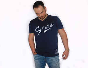 """Stand"" Hand Script V-Neck Tee - Navy"