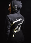 "Black Zip Hoodie ""Giants Will Fall"""