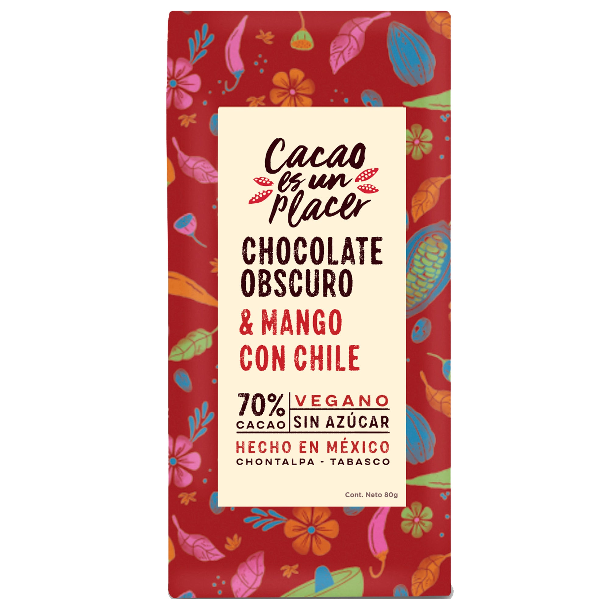 CHOCOLATE OBSCURO CON MANGO Y CHILE 80GR