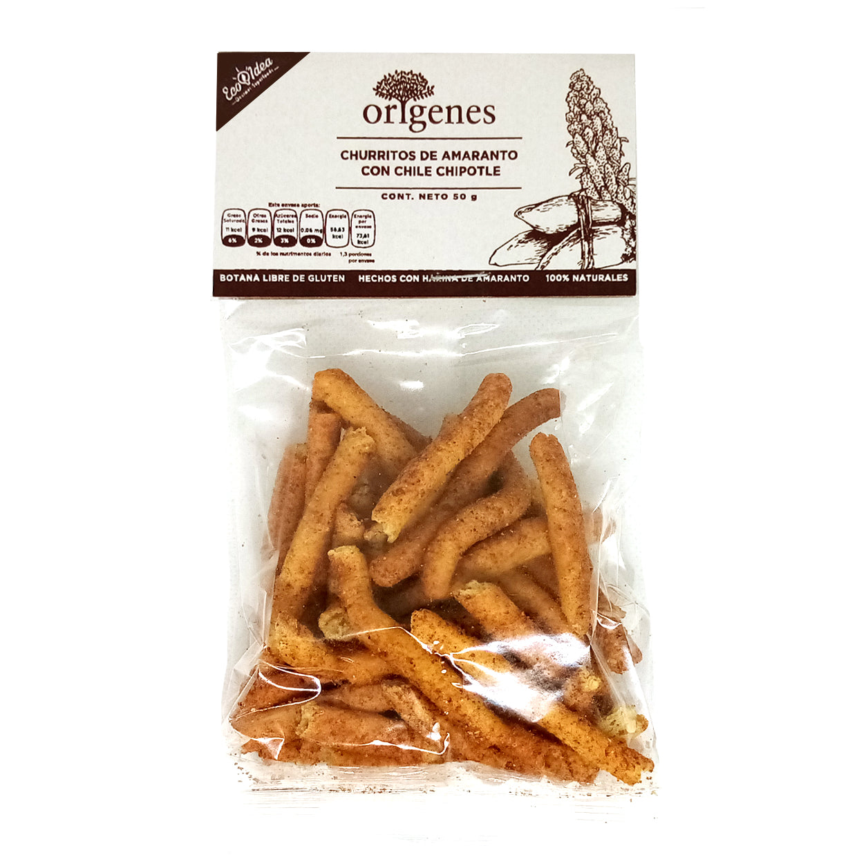 CHURRITOS DE AMARANTO CON CHIPOTLE 50G