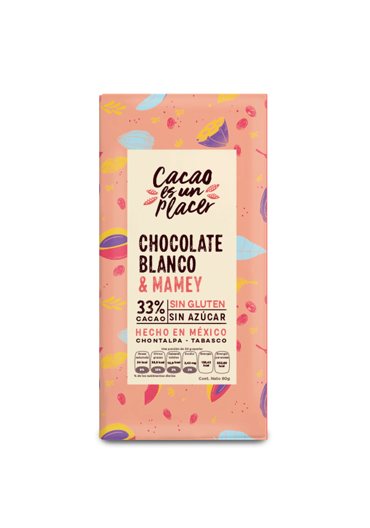 CHOCOLATE BLANCO CON MAMEY 80GR