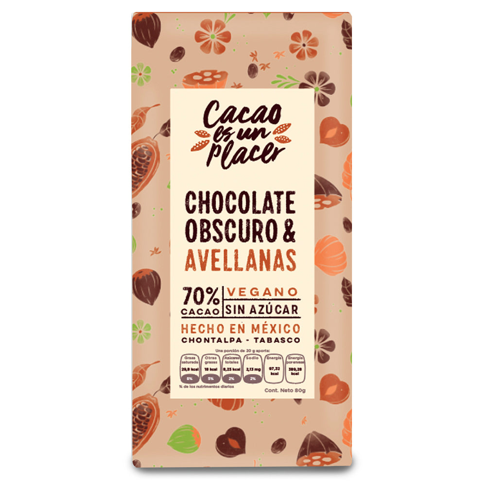 CHOCOLATE OBSCURO & AVELLANA 70% CACAO 80gr
