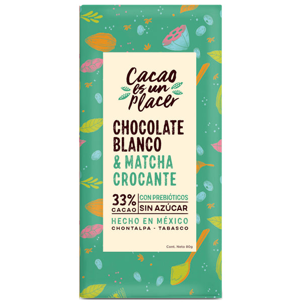 CHOCOLATE BLANCO CON MATCHA CROCANTE 80GR