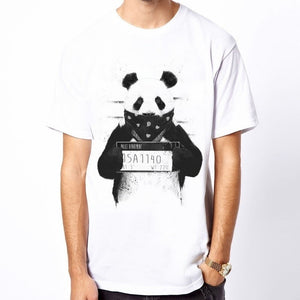 New Summer Fashion White Men's Panda Printed Short Sleeve Men Tee Shirt Homme Clothing Voste Homme Casual Tops Funny T-Shirt