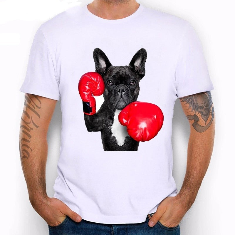 Cool New Retro Men's Funny French Bulldog Print T Shirt Summer Hipster Brand Graphics Top Tees