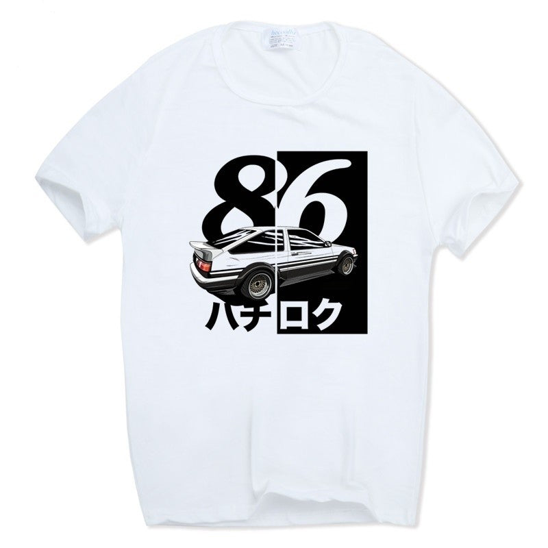 Casual Men Print Drift Japanese Anime T-shirt O-Neck Short Sleeves Summer Casual AE86 Initial D Homme T Shirt