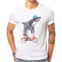 100% Cotton Summer Fashion Cute Shark Design T Shirt Male Kawaii Animal Tops Hipster White Tees Casual Short Sleeve
