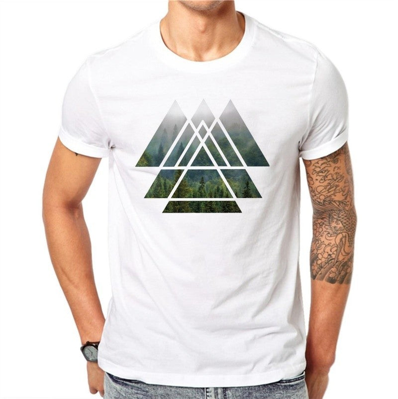 100% Cotton Summer Fashion Men T Shirt Short Sleeve O-neck Couples Tops Creative Mist Forest Printed T Shirts Cool Tee