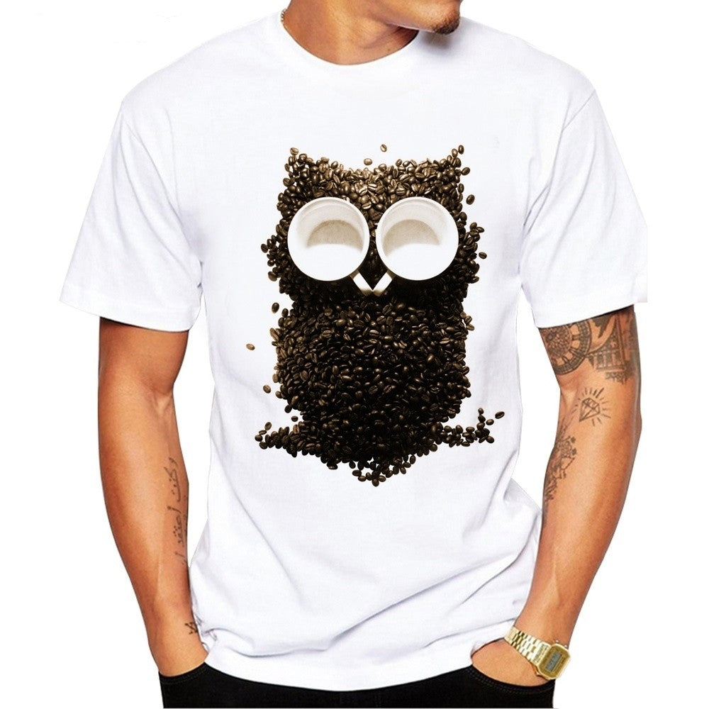 Men's Coffee Beans Owl Print T-Shirt Men Summer Modal Hipster Tees