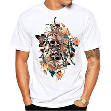 Men's Print Skull T-shirt Men Short Sleeve O-Neck White Tshirt Tops TeeT Shirt
