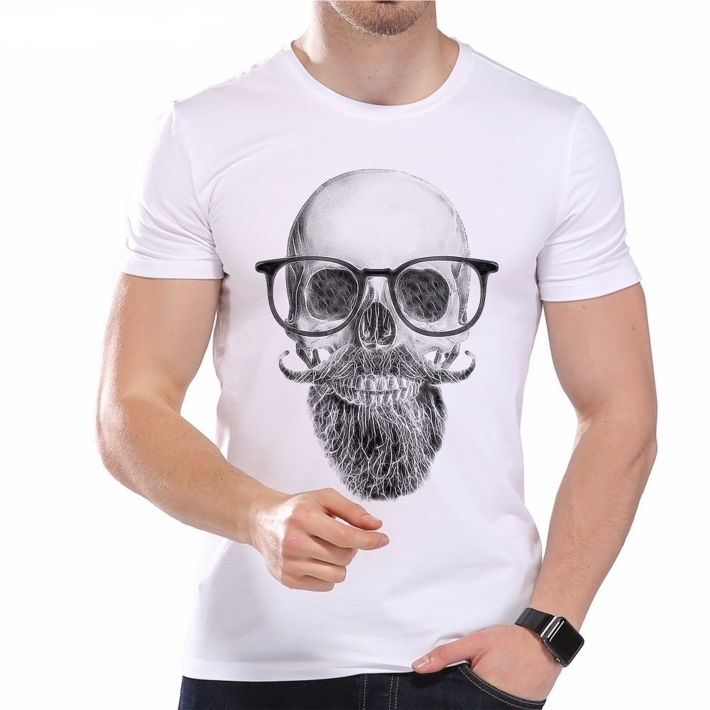 Brand Vintage Summer Men's T-Shirt White Beard Scholar Printed Short Sleeve O-Neck Modal Hipster Tops Tees
