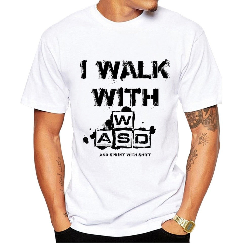 I walk with WASD Funny T shirt Men Cool Casual Style Short Sleeve Round Neck Video Games Top Tees