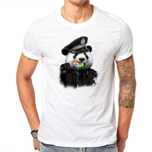 100% Cotton Policemen Panda Design Men T-shirt Novelty Animal Design Printed Male Cool Tops Short Sleeve Casual Tee T Shirts