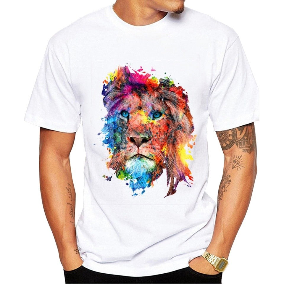 Summer Fashion Colorful Lion Design T Shirt Men's High Quality Animal Tops Hipster Tees