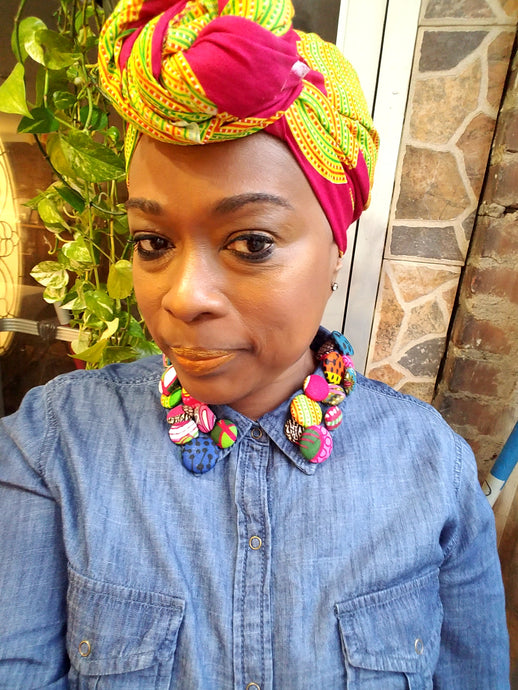 Pink+Orange+Green Circle Headwrap