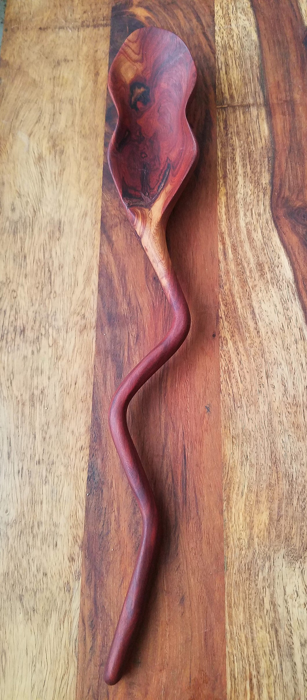 African Double Wavy Wood Spoon