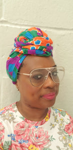 African Abstract Flower Headwrap