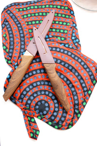 African Red Dot Pot Holder+Oven Mitt Set