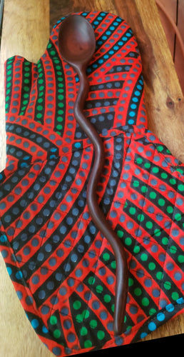 Oven Mitt+Pot Holder+Wavy Spoon Set African Red Dot