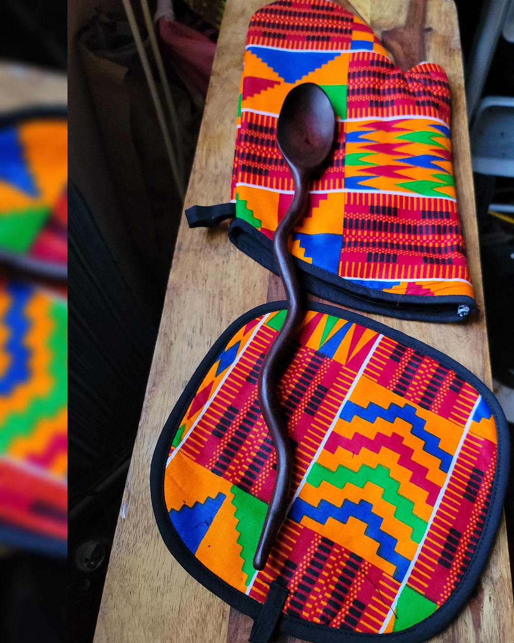 Kente Cloth Oven Mitt+Pot Holder+Wavy Spoon