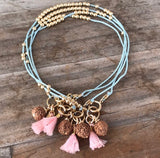 Wear A Prayer Bracelet (Light Blue with Pink Tassel)