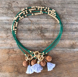 Wear A Prayer Bracelet (Green with Blue Tassel)