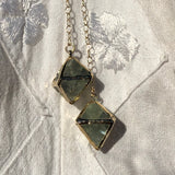 Green Fluorite Octahedron Necklace