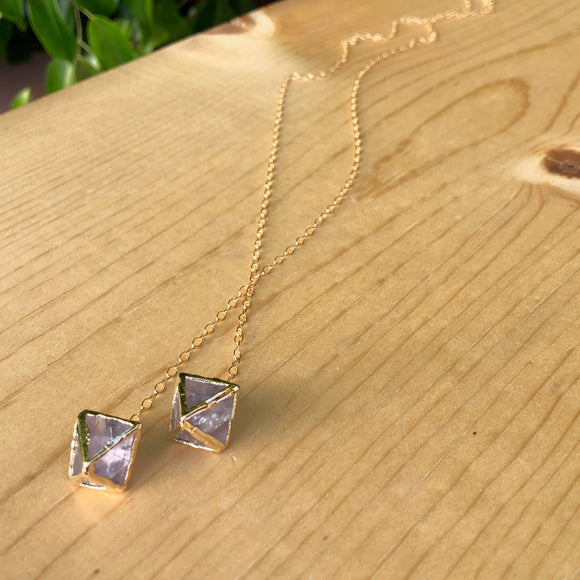 Light Purple Fluorite Octahedron Necklace
