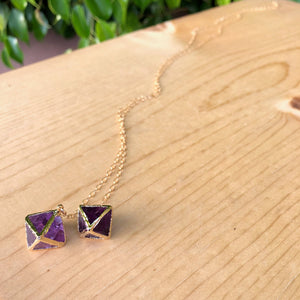Purple Fluorite Octahedron Necklace
