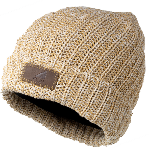This hat is a blend of mustard yellow and white and comes with a brown leather patch on the front.