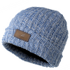 This hat is made with a blend of rich blue and white and comes with a brown leather patch on the front.