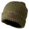 A warm olive green hat with a rectangular genuine leather patch on the front