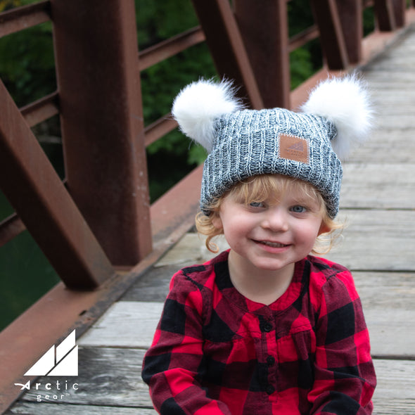 Toddler Cotton Cuff Hat with Double Poms