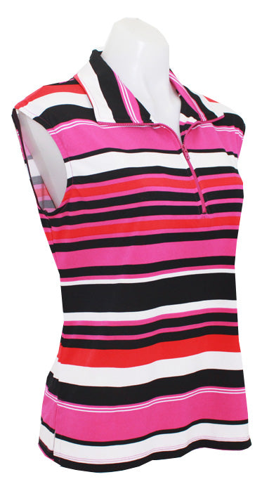 CORAL/FUSCHIA  STRIPE- CAPPED SLEEVE DESIGNER POLO