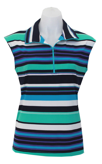 AQUA STRIPE - CAPPED SLEEVE DESIGNER POLO