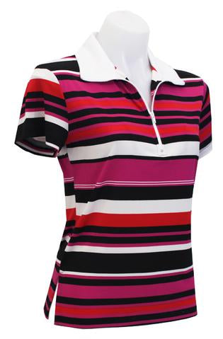 CORAL/FUSCHIA STRIPE - EXTENDED CAPPED SLEEVE DESIGNER POLO