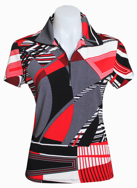 RED/ BLACK/ WHITE EXTENDED CAPPED DESIGNER POLO