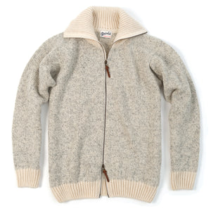 Nansen Zip Cardigan, Grey Melange / Off-White