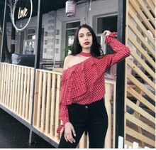 "''Red Lotty Dotty"" Polka Dot Blouse with Ruffle detail"