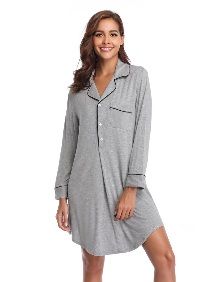 2a23cf6b3b ... Long Sleeve Nightshirt Boyfriend Sleep Shirt Button-up Lapel Collar  Nightgown ...