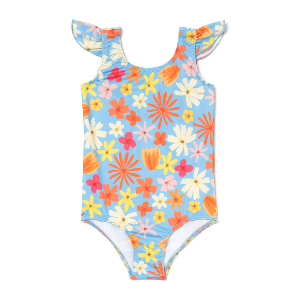70s Floral Flutter One Piece