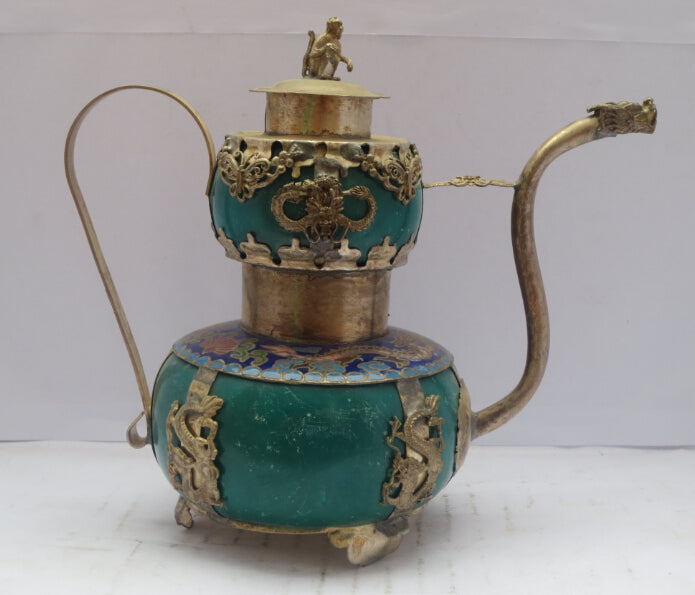 christmas decorations for home+ Metal Crafts Green Jade stone Inlay Tibet Silver Carved Dragon Teapot