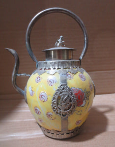 christmas decorations for home+ Metal Crafts Antique antiques Tibet silver yellow ceramic pot,painting flowers teapot