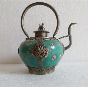 christmas decorations for home+ Collectible Decorated Old Handwork green porcelain teapot monkey lid Tea Pot