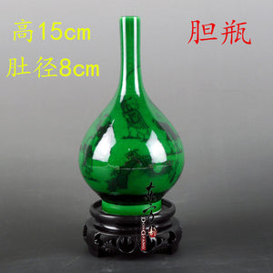 Antique Green Color Glazed Porcelain Flower Vases Handmade Household Furnishing Articles With Patterns Porcelain vase