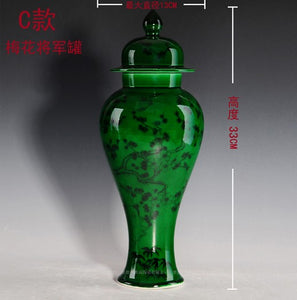 Chinese antique jade green color ceramic vases with double ear design qing qianlong mark